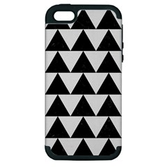 TRIANGLE2 BLACK MARBLE & WHITE LINEN Apple iPhone 5 Hardshell Case (PC+Silicone)