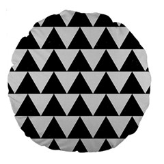 TRIANGLE2 BLACK MARBLE & WHITE LINEN Large 18  Premium Round Cushions