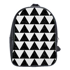 TRIANGLE2 BLACK MARBLE & WHITE LINEN School Bag (XL)