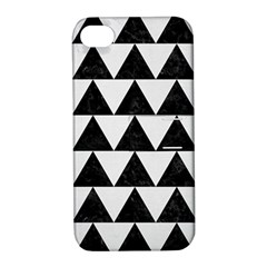 TRIANGLE2 BLACK MARBLE & WHITE LINEN Apple iPhone 4/4S Hardshell Case with Stand