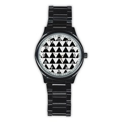 Triangle2 Black Marble & White Linen Stainless Steel Round Watch by trendistuff