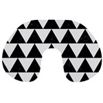 TRIANGLE2 BLACK MARBLE & WHITE LINEN Travel Neck Pillows Back