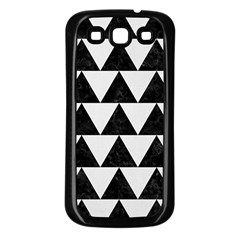 TRIANGLE2 BLACK MARBLE & WHITE LINEN Samsung Galaxy S3 Back Case (Black)