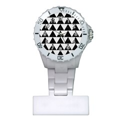 Triangle2 Black Marble & White Linen Plastic Nurses Watch by trendistuff