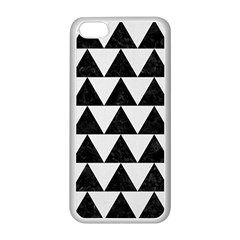 TRIANGLE2 BLACK MARBLE & WHITE LINEN Apple iPhone 5C Seamless Case (White)