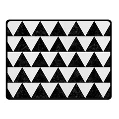 Triangle2 Black Marble & White Linen Double Sided Fleece Blanket (small)  by trendistuff