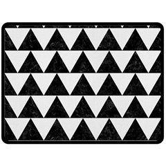 Triangle2 Black Marble & White Linen Double Sided Fleece Blanket (large)  by trendistuff