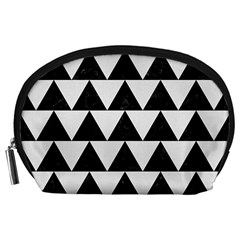 TRIANGLE2 BLACK MARBLE & WHITE LINEN Accessory Pouches (Large)