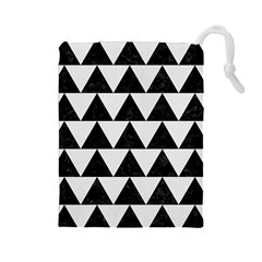 TRIANGLE2 BLACK MARBLE & WHITE LINEN Drawstring Pouches (Large)