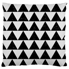 TRIANGLE2 BLACK MARBLE & WHITE LINEN Large Flano Cushion Case (Two Sides)