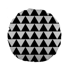 Triangle2 Black Marble & White Linen Standard 15  Premium Flano Round Cushions by trendistuff