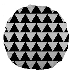 TRIANGLE2 BLACK MARBLE & WHITE LINEN Large 18  Premium Flano Round Cushions
