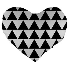 TRIANGLE2 BLACK MARBLE & WHITE LINEN Large 19  Premium Flano Heart Shape Cushions