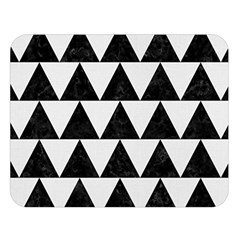 TRIANGLE2 BLACK MARBLE & WHITE LINEN Double Sided Flano Blanket (Large)