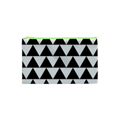 TRIANGLE2 BLACK MARBLE & WHITE LINEN Cosmetic Bag (XS)