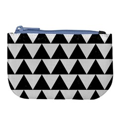Triangle2 Black Marble & White Linen Large Coin Purse by trendistuff
