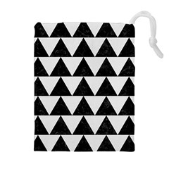 TRIANGLE2 BLACK MARBLE & WHITE LINEN Drawstring Pouches (Extra Large)