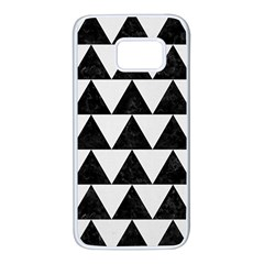 TRIANGLE2 BLACK MARBLE & WHITE LINEN Samsung Galaxy S7 White Seamless Case