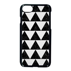 TRIANGLE2 BLACK MARBLE & WHITE LINEN Apple iPhone 7 Seamless Case (Black)
