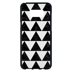 TRIANGLE2 BLACK MARBLE & WHITE LINEN Samsung Galaxy S8 Plus Black Seamless Case