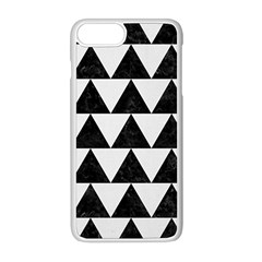 TRIANGLE2 BLACK MARBLE & WHITE LINEN Apple iPhone 8 Plus Seamless Case (White)