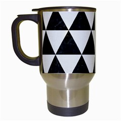 Triangle3 Black Marble & White Linen Travel Mugs (white) by trendistuff