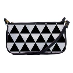 Triangle3 Black Marble & White Linen Shoulder Clutch Bags by trendistuff