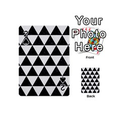 Triangle3 Black Marble & White Linen Playing Cards 54 (mini)  by trendistuff