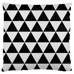 Triangle3 Black Marble & White Linen Large Cushion Case (one Side) by trendistuff