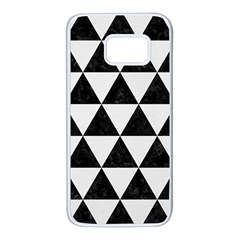 Triangle3 Black Marble & White Linen Samsung Galaxy S7 White Seamless Case by trendistuff
