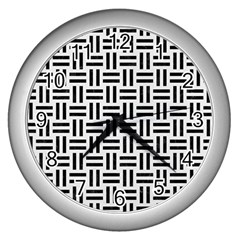 Woven1 Black Marble & White Linen Wall Clocks (silver)  by trendistuff