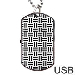 Woven1 Black Marble & White Linen Dog Tag Usb Flash (one Side) by trendistuff
