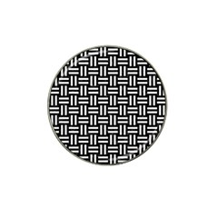 Woven1 Black Marble & White Linen (r) Hat Clip Ball Marker by trendistuff