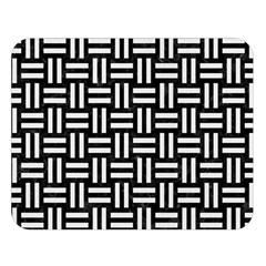 Woven1 Black Marble & White Linen (r) Double Sided Flano Blanket (large)  by trendistuff