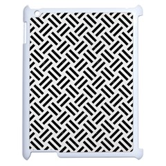 Woven2 Black Marble & White Linen Apple Ipad 2 Case (white) by trendistuff