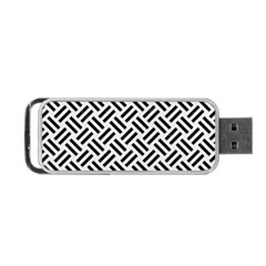 Woven2 Black Marble & White Linen Portable Usb Flash (one Side) by trendistuff