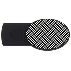 Woven2 Black Marble & White Linen (r) Usb Flash Drive Oval (4 Gb) by trendistuff