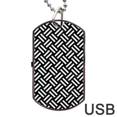 Woven2 Black Marble & White Linen (r) Dog Tag Usb Flash (one Side) by trendistuff