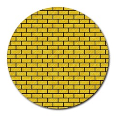 Brick1 Black Marble & Yellow Colored Pencil Round Mousepads by trendistuff