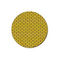 Brick1 Black Marble & Yellow Colored Pencil Rubber Round Coaster (4 Pack)  by trendistuff