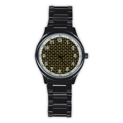 Brick1 Black Marble & Yellow Colored Pencil (r) Stainless Steel Round Watch by trendistuff