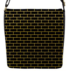 Brick1 Black Marble & Yellow Colored Pencil (r) Flap Messenger Bag (s) by trendistuff