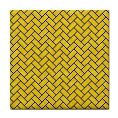 Brick2 Black Marble & Yellow Colored Pencil Tile Coasters by trendistuff
