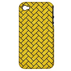 Brick2 Black Marble & Yellow Colored Pencil Apple Iphone 4/4s Hardshell Case (pc+silicone) by trendistuff