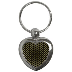Brick2 Black Marble & Yellow Colored Pencil (r) Key Chains (heart)