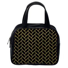 Brick2 Black Marble & Yellow Colored Pencil (r) Classic Handbags (one Side) by trendistuff