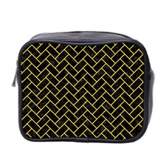 Brick2 Black Marble & Yellow Colored Pencil (r) Mini Toiletries Bag 2 Side by trendistuff