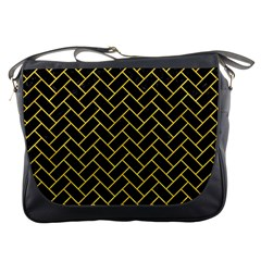 Brick2 Black Marble & Yellow Colored Pencil (r) Messenger Bags by trendistuff