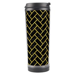 Brick2 Black Marble & Yellow Colored Pencil (r) Travel Tumbler by trendistuff