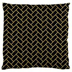 Brick2 Black Marble & Yellow Colored Pencil (r) Large Flano Cushion Case (one Side) by trendistuff